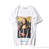 mann freie verschiffenkleidung koreanisch großhandel-Das T-Shirt der Sommer-Männer europäische und amerikanische Mona Lisa WHITE kurzärmliges männliches und weibliches Paarhemd WEG VON DER WAND