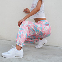 Wholesale pink camo for sale - Group buy Designer Sweatpants Pants Women Pink Camouflage Camo Cargo Sweat Pants High Waist Elastic Trousers Casual Baggy Joggers Print Pockets