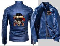 chaqueta de pistola al por mayor-Nueva locomotora de moda negro Guns N Roses chaqueta de cuero con cremallera de los hombres motocicleta coche cremallera chaqueta de cuero de la rebeca