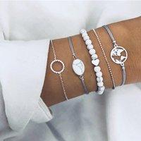 ovale legierungsknöpfe großhandel-Armbänder Charm für Frauen Armbänder Perlenstränge Oval Riss Türkis Karte Fünf-Stück-Anzug Mode Legierung Button-Typ