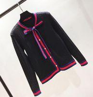 белые кардиганы женщин оптовых-Бесплатная доставка с круглым вырезом красный белый черный обшитый панелями свитер фирменный же стиль роскошный свитер женский кардиган
