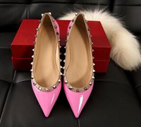 Wholesale pearl rock resale online - Luxury design Women Rivet shoes patent Leather Pointed Toe rock Studded valentine woman flats loafers