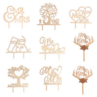 Wholesale engagement cupcakes resale online - Mr Mrs Cake Topper DIY Wedding Cake Topper Laser Cut Wood letters Wedding Cake Decorations Favors Supplies Engagement Gifts