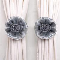 ropa de red negra al por mayor-Retenciones para cortina Clip-On Flower Voile Net Cloth Tie Backs 1PC ev dekorasyon aksesuarlar