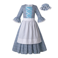 sombrero azul de las niñas al por mayor-Pettigirl Summer Light Blue Flower Print Vestidos de algodón para niñas con lindo sombrero Designer Kid Girls Dress Dropshipping G-DMCS204-G008