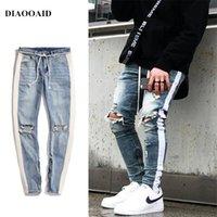 novas cores jeans homens venda por atacado-Diaooaid 2018 Novo Streetwear Hiphop Personalidade Calças De Brim Dos Homens Lado Com Zíper Rasgado Moda Masculina Destruído Skinny 2 Cores Denim Calças Y190510
