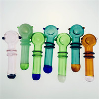 Wholesale small pieces smoke pipes resale online - New arrivals Smoking Blown Glass Hand Pipes Cheap Pyrex Glass Tobacco Spoon Pipes Mini Small Bowl Pipe Unique Pot Pipes Smoking Pieces