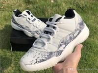 ingrosso nero 11s-2019 Hot 11 Authentic Low Snake Light Bone Snakeskin Bianco Nero Smoke Grigio XI 11S Uomini Scarpe da basket Sport Sneakers CD6846-002 Con scatola