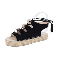 ingrosso sandali in paglia-Fairy2019 Flat 19 Bottom Flange Straw Plaited Article Bocca di pesce Fisherman Bandage Nappe Motion Wind Woman Sandals