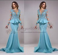 Wholesale turquoise blue chiffon dresses resale online - 2019 Tony Chaaya blue Lace Appliques mermaid Prom Dress Arabic ruched stain Evening Dresses sheer Long Sleeves turquoise women dress
