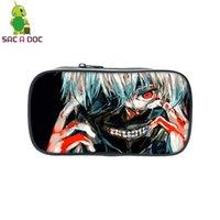 tokyo ghoul geschenke großhandel-Anime Tokyo Ghoul Kosmetiktasche Kaneki Ken Gedruckt Federmäppchen Große Kapazität Schulbedarf Make-Up Geldbörse Taschen Kinder Beste Geschenk
