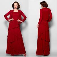 jaqueta de espaguete venda por atacado-Burgundy Chiffon mãe do vestido de noiva com Jacket Plus Size Spaghetti Formal Wear vestidos de noite