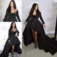 ingrosso vestiti lunghi da rihanna-2019 Black Satin Rihanna High Low Prom Dresses con manica lunga Vestito da cerimonia formale Abiti da sera celebrità Abiti da cerimonia speciali