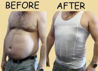 erkekler vücut şekillendirici gömlek toptan satış-Erkek Zayıflama Vücut Şekillendirici Erkekler Için Seksi Yelek Bira Bellly Buster Şekillendirme Spor Yelek Erkek Gömlek Altında