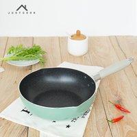 woks de cuisine achat en gros de-Justcook Poêles à frire antiadhésives de 10 pouces sans huile - Fumée 24 Cm Outils de cuisson Wok Cuisine Usage général pour cuisinière à gaz et à induction