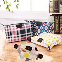 çanta çantası baskısı toptan satış-Kadınlar Çiçek Baskılı Hamur Çanta Tuvalet Katlanabilir Kozmetik Taşınabilir Saklama Çantası Hamur Debriyaj Çanta Fermuar Çanta LJJR1045