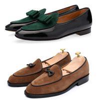 chaussures en velours achat en gros de-Mocassins en velours de designer italien avec nœud pompon glissant sur des chaussures plates