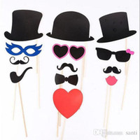 Wholesale funny mustache lips resale online - Hot Home Festive Event Set of Photo Booth Prop Mustache Eye Glasses Lips on a Stick Mask Funny Wedding Party Photography