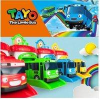 plastik otobüsler toptan satış-4 adet / takım Ölçekli Modeli Tayo Küçük Otobüs Çocuk Minyatür Otobüs Plastik Bebek Oyuncak Garaj Tayo Otobüs Çocuk Oyuncakları Noel Hediyesi J190525
