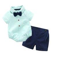 lindos pantalones cortos de color caramelo al por mayor-Cute Toddler Baby Boys Gentleman Bow Mamelucos y pantalones cortos 2 unids establece caramelo color azul verano occidental moda niños ropa
