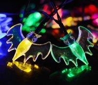 Wholesale halloween celebration resale online - 7 m Led g Bat Solar String Light Waterproof Christmas Celebration Decoration Mixed Color Halloween String Lights Holiday