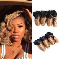 insan saçı tam kafa paketi toptan satış-Kısa Ucuz Ombre İnsan Saç demetleri Romantik Kıvırmak 8-10 Inç 3 Demetleri / Tam Başkanı Için Set Brezilyalı Gevşek Dalga Remy İnsan Saç Uzantıları