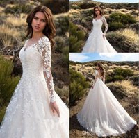 Wholesale classic simple sexy wedding dresses resale online - Sexy V Neck Backless A Line Sheer Lace Applique Long Sleeve Bridal Wedding Dress Classic Wedding Gowns vestidos de novia
