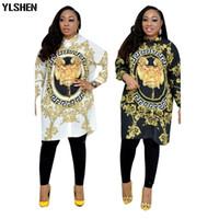 ingrosso vestito femme plus size-Abiti africani per le donne Dashiki Stampa Abiti africani Bazin Broder Riche Plus Size Donna Sexy Camicia Dress Robe Femme Africaine