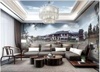 Wholesale house town for sale - Group buy 3d wallpaer custom mural photo Chinese style Jiangnan Water Town background living room home decor d wall murals wallpaper for walls d
