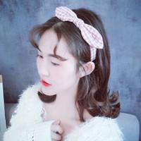 diadema de orejas de gato rojo al por mayor-Nueva red de tocado de tela a cuadros red versión coreana de la oreja de gato banda para el cabello chica sum elegante venda al por mayor