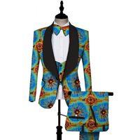 calças de botão venda por atacado-Impressão africano 3 peças conjuntos de homens Dashiki Top e Trouser Vest Set Bazin Plus Size Tradicional Africano Roupas WYN431
