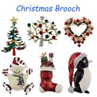 broches de arbol de navidad al por mayor-12 Estilos Broche de Navidad Juego de Broches para la Familia Árbol de Navidad Coronas de Navidad Lindo Regalo de Navidad Fiesta Decoración Ornamento Broches de Navidad B329S F