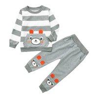 bebek ayı kıyafetleri toptan satış-Bebek Kız Erkek Giysileri Toddler Çocuk Erkek Bebek Karikatür Çizgili Ayı Baskılı Pantolon Kıyafetler Set Tops