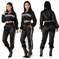 sweat pant suits 2021 - Women Fashion Autumn Winter Reflective Sport Tracksuits 2 Piece Sets Crop Top Pants Sweat Suit Sexy Sets