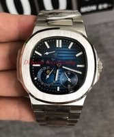 Wholesale moon phase calendar mechanical resale online - Top luxury Mens nautilus watch mm man automatic mechanical sport Moon Phase Leather Strap stainless steel blue dial watches