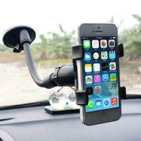 держатели для чашек держатели gps оптовых-Двойной зажим автомобильный держатель 360 градусов лобовое стекло автомобиля крепление сотового телефона Стендер присоски для GPS мобильного телефона iPHone Бесплатная доставка