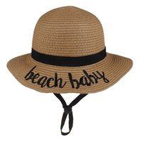 Wholesale child cream summer resale online - Kids Girl Beach Straw Hat Embroider Sunhat Children Summer All matched Bucket Hat Beach Baby Mommy girl Letters Camel Cream Hot selling
