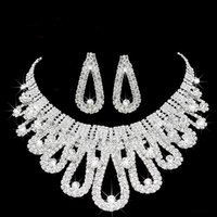 Wholesale set jewerly necklaces resale online - 2019 Romantic Pearl Designer With Crystal Cheap Two Pieces Earrings Necklace Rhinestone Wedding Bridal Sets Jewelry Set Jewerly