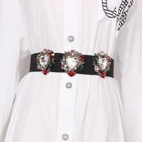 Wholesale black elastic rhinestone belt for sale - Group buy High End Flower Crystal Gem Women Waist Belts Elastic Waistband Rhinestone Corset Strechy Summer Dress Belts New