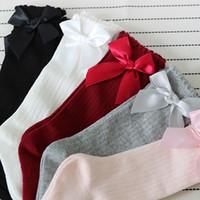 laços de renda grande venda por atacado-Novos Miúdos Meias Crianças Meninas Big Bow Na Altura Do Joelho Alta Longo Macio Rendas De Algodão meias Do Bebê 5 cores