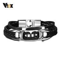 bracelets de charme en cuir en couches achat en gros de-Vnox Multi Bracelets en Cuir Interlock en Cuir pour Hommes Femmes Mode Casual Homme Pulseira Multi Options