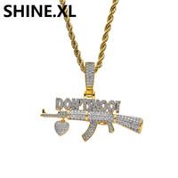 ingrosso gioielli sparare-Placcato oro 18 carati AK-47 Gun DO NOT SHOOT Collana con pendente Iced Out Zircon Mens Hip Hop Jewelry Gift
