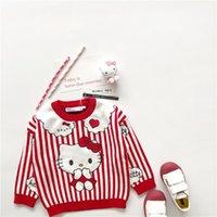 lolita çizgi filmleri toptan satış-Tonytaobaby Yeni kış kızın küçük ve orta çocuk giyim kızın kırmızı şerit Kedi karikatür pamuk Kazak