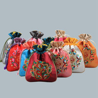 Wholesale chinese silk drawstring bags resale online - Chinese Silk Brocade Drawstring Jewelry Pouches Wedding Christmas Party Favors Packaging Gifts Bags Embroidery Silk Bag