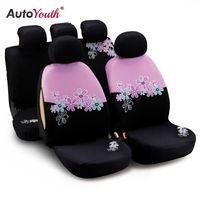 ingrosso rosa auto coperchio sedili auto-AUTOYOUTH Coprisedili per auto da donna universali adatta alla maggior parte delle auto e airbag compatibili colore rosa con ricami floreali