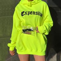neon kadın giysileri toptan satış-İlkbahar Sonbahar Kadın Rahat Kazak Trendy Gevşek Cep Streetwear Kapşonlu Neon Yeşil Mektubu Baskı Uzun SleeveTrend Giysileri
