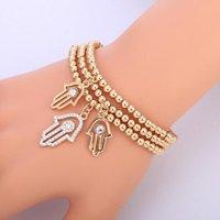 ingrosso 14k catene d'oro turco-Bracciale oro malocchio turco CZ cristallo piccolo fascino mano di bracciali Hamsa per le donne catena elastica moda perline gioielli regali