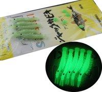 крючки для рыболовных снастей оптовых-Мягкие резиновые светящиеся креветки приманки Sabiki буровые установки 5 рука крючки морская рыбалка мигалка буровые установки искусственные приманки буровые установки для Сельди
