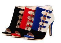 каблуках синий цвет оптовых-2019 новый стиль лето Женские туфли на высоком каблуке сандалии обувь одноместный обувь цветной ремень кнопка Fishmouth обувь большой размер красный синий черный