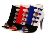 ingrosso scarpe con tacco scarpe blu-Sandali con tacco alto da donna stile estate 2019 Scarpe singole Scarpe con bottone colorato Bottone Fishmouth Scarpe Taglia grande rosso blu nero